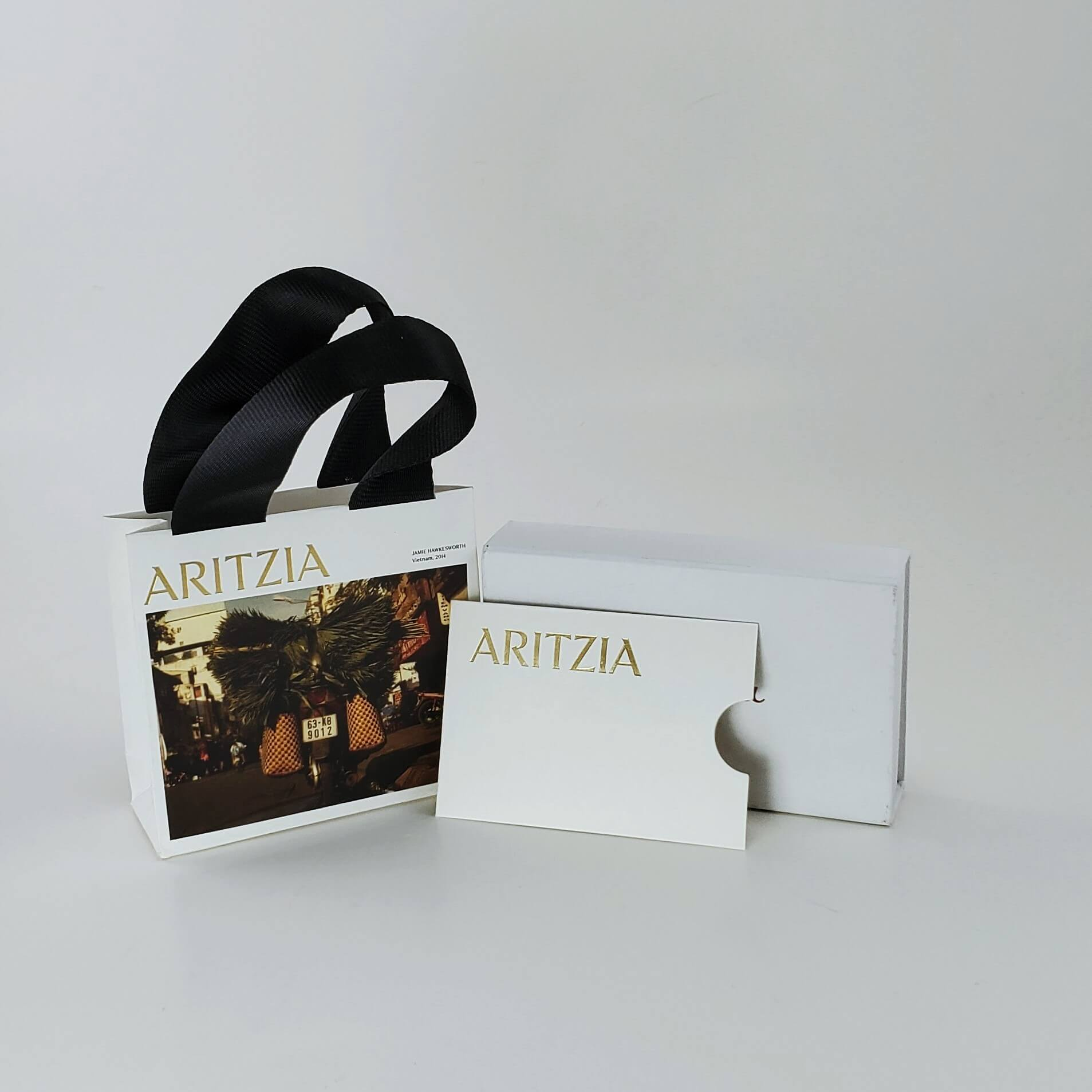 Aritzia Gift Card Bag and Sleeve with gold foil hot stamp logo